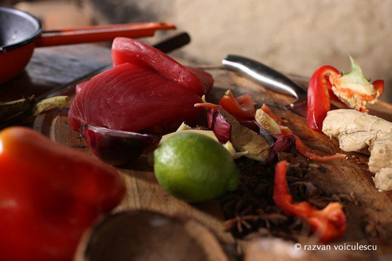 ton roșu, lapte de cosos, bucătăria hoinară, outdoor cooking